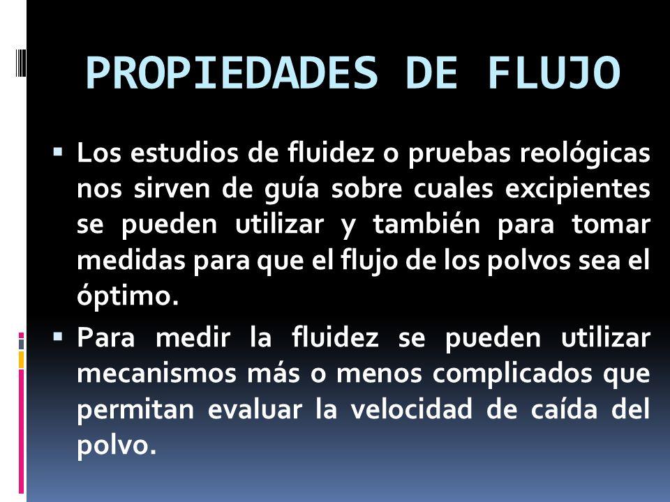 PROPIEDADES DE FLUJO Los estudios de fluidez o pruebas reológicas nos sirven de guía sobre cuales excipientes se pueden utilizar y también para tomar