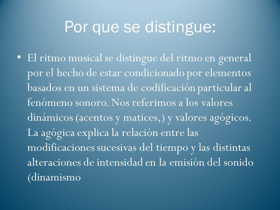 Por que se distingue: El ritmo musical se distingue del ritmo en general por el hecho de estar condicionado por elementos basados en un sistema de cod