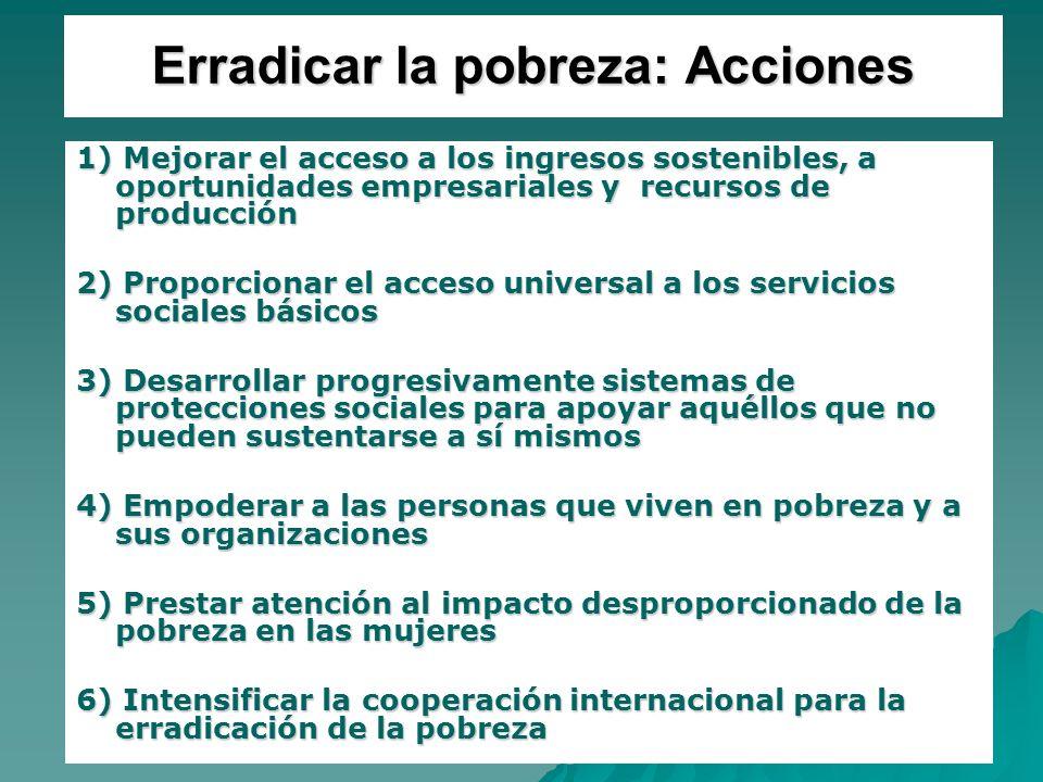 21 Erradicar la pobreza: Acciones 1) Mejorar el acceso a los ingresos sostenibles, a oportunidades empresariales y recursos de producción 2) Proporcio