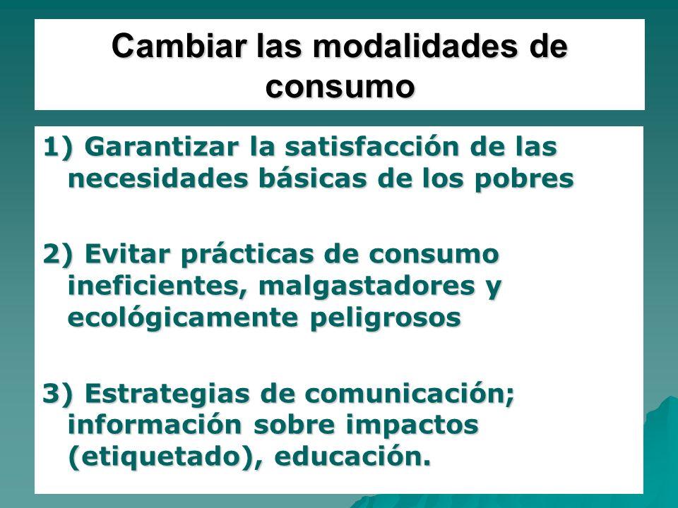 22 Cambiar las modalidades de consumo 1) Garantizar la satisfacción de las necesidades básicas de los pobres 2) Evitar prácticas de consumo ineficient