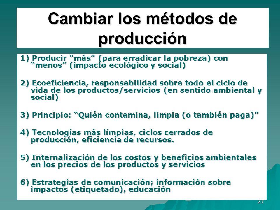 23 Cambiar los métodos de producción 1) Producir más (para erradicar la pobreza) con menos (impacto ecológico y social) 2) Ecoeficiencia, responsabili