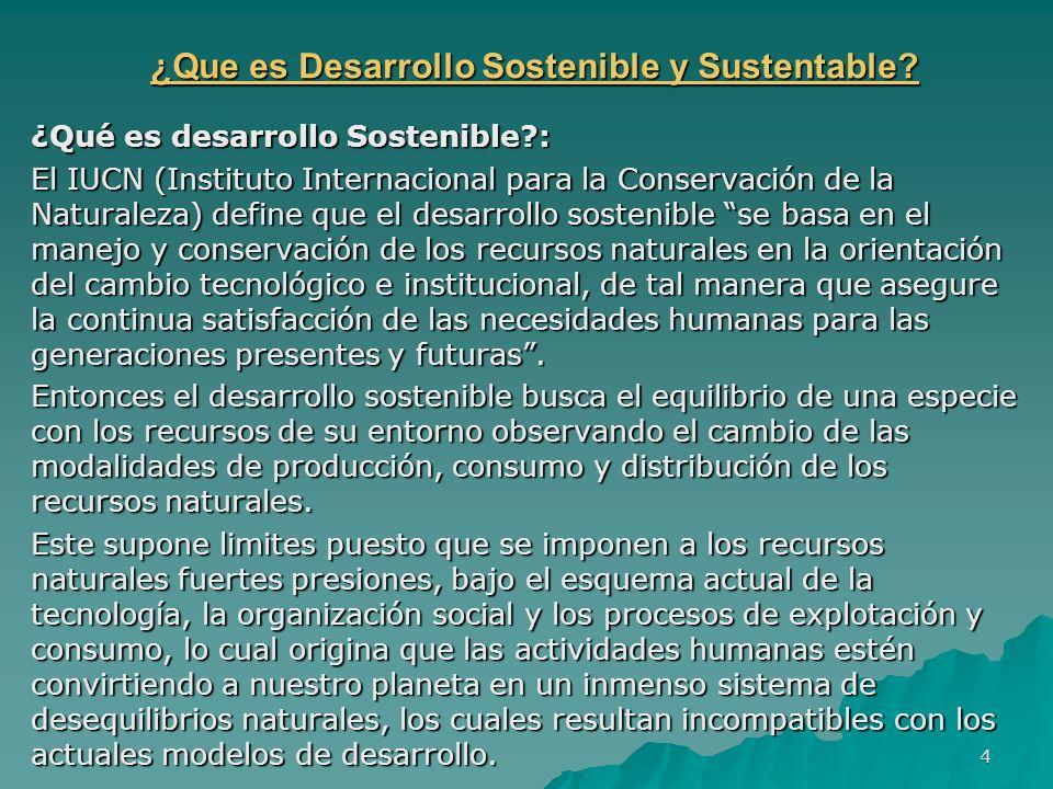¿Que es Desarrollo Sostenible y Sustentable? ¿Que es Desarrollo Sostenible y Sustentable? ¿Qué es desarrollo Sostenible?: El IUCN (Instituto Internaci