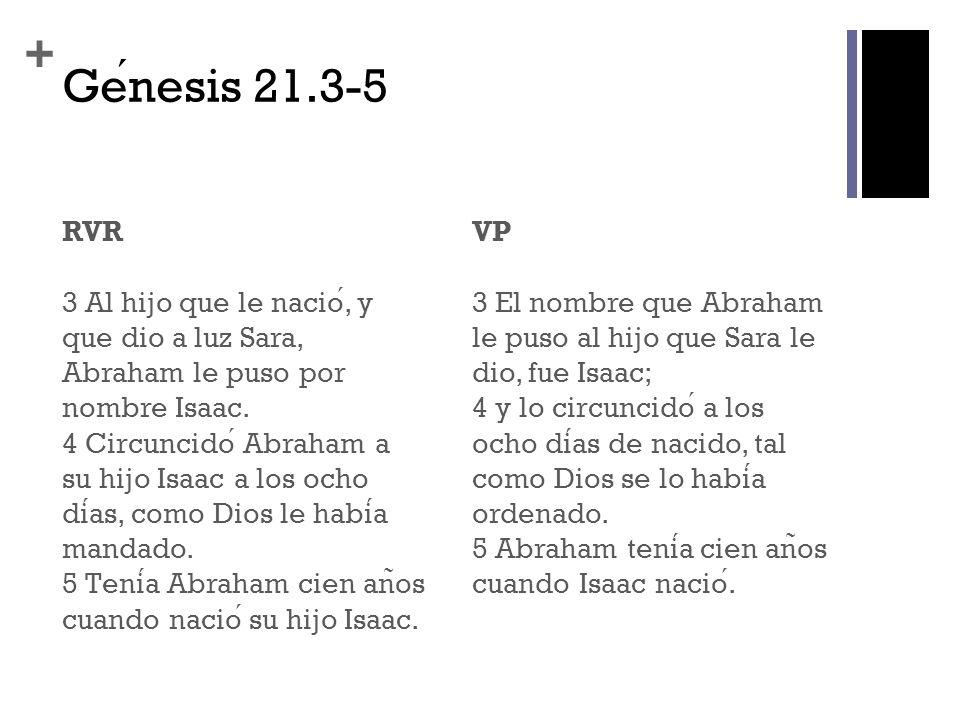 + Genesis 21.3-5 RVR 3 Al hijo que le nacio, y que dio a luz Sara, Abraham le puso por nombre Isaac. 4 Circuncido Abraham a su hijo Isaac a los ocho d