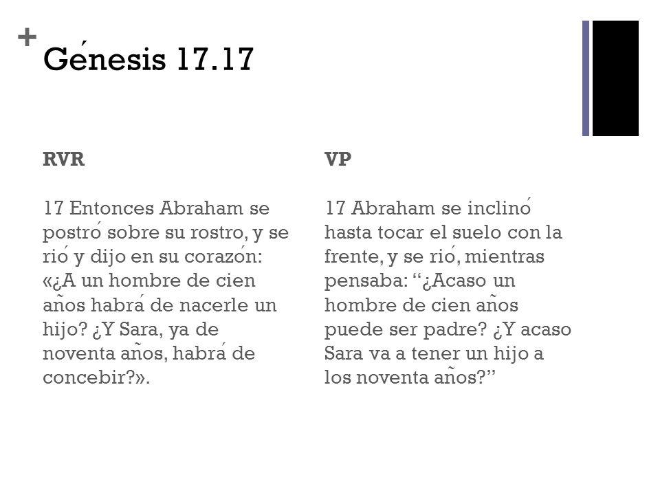 + Genesis 17.17 RVR 17 Entonces Abraham se postro sobre su rostro, y se rio y dijo en su corazon: «¿A un hombre de cien an ̃ os habra de nacerle un hi