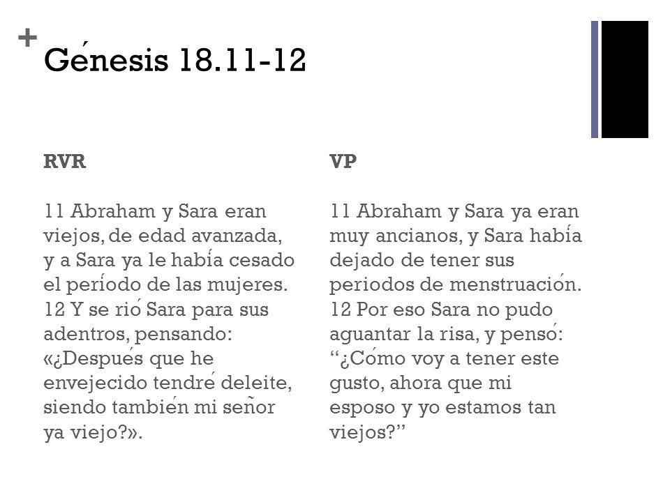 + Genesis 18.11-12 RVR 11 Abraham y Sara eran viejos, de edad avanzada, y a Sara ya le habia cesado el periodo de las mujeres. 12 Y se rio Sara para s