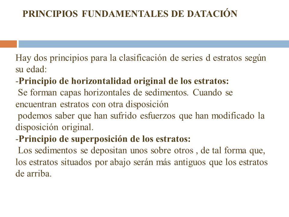 Hay dos principios para la clasificación de series d estratos según su edad: -Principio de horizontalidad original de los estratos: Se forman capas ho