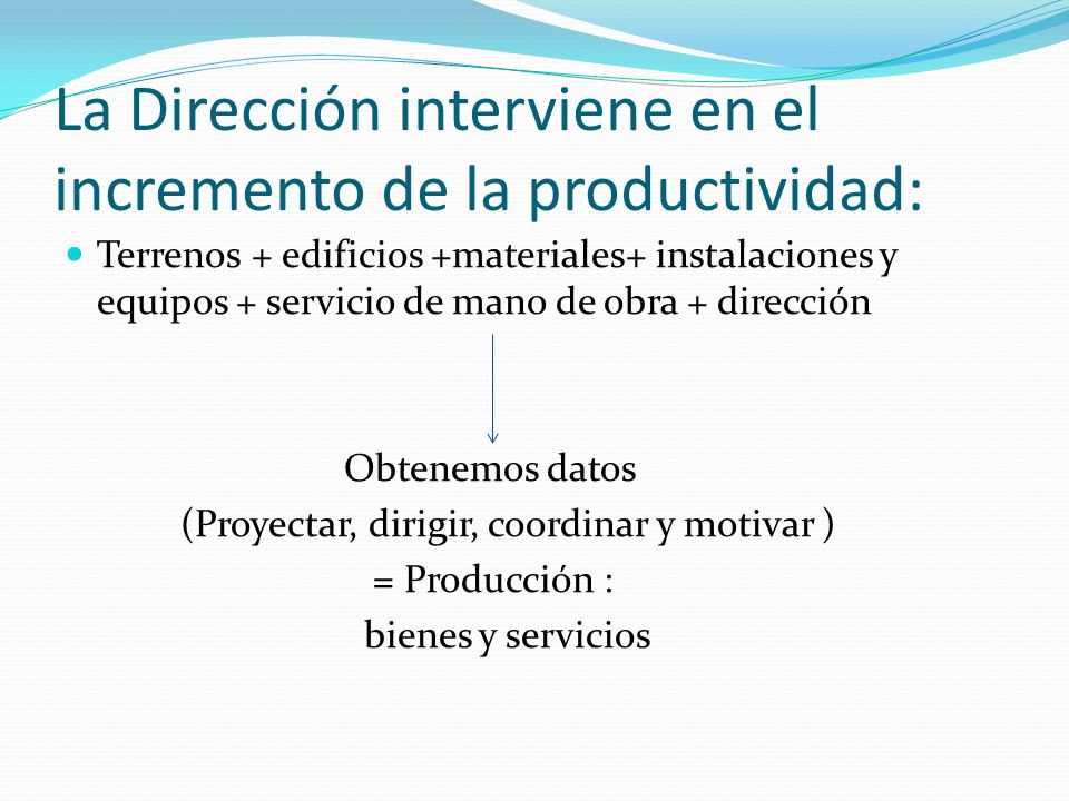 La Dirección interviene en el incremento de la productividad: Terrenos + edificios +materiales+ instalaciones y equipos + servicio de mano de obra + d