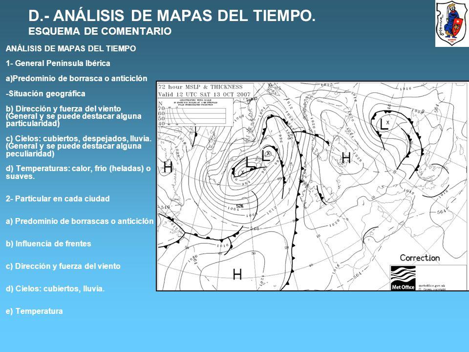 D.- ANÁLISIS DE MAPAS DEL TIEMPO.