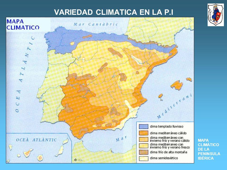 VARIEDAD CLIMATICA EN LA P.I MAPA CLIMÁTICO DE LA PENINSULA IBÉRICA