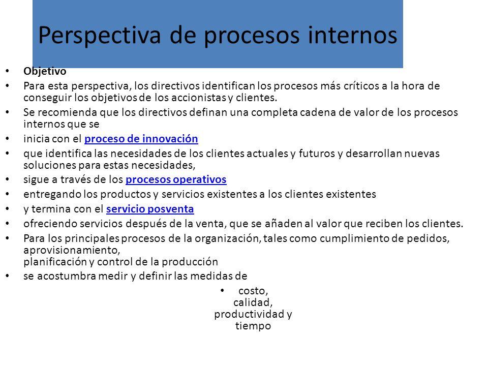 Perspectiva de procesos internos Objetivo Para esta perspectiva, los directivos identifican los procesos más críticos a la hora de conseguir los objet