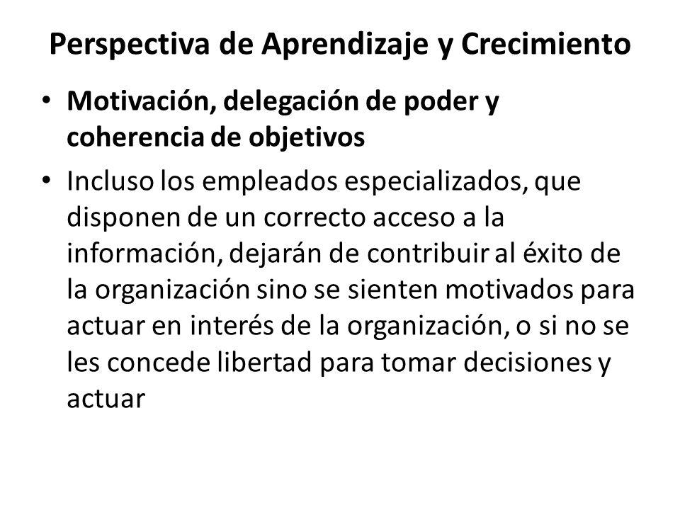 Perspectiva de Aprendizaje y Crecimiento Motivación, delegación de poder y coherencia de objetivos Incluso los empleados especializados, que disponen