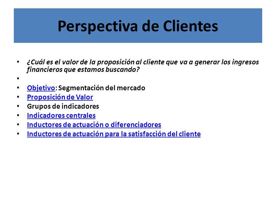 Perspectiva de Clientes ¿Cuál es el valor de la proposición al cliente que va a generar los ingresos financieros que estamos buscando? Objetivo: Segme