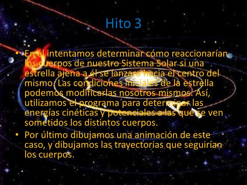 Hito 3 En él intentamos determinar cómo reaccionarían los cuerpos de nuestro Sistema Solar si una estrella ajena a él se lanzara hacia el centro del m