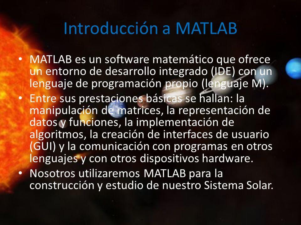 Introducción a MATLAB MATLAB es un software matemático que ofrece un entorno de desarrollo integrado (IDE) con un lenguaje de programación propio (len