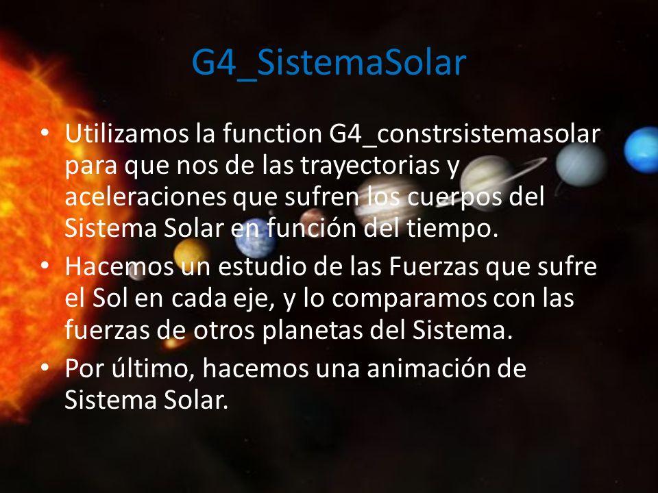 G4_SistemaSolar Utilizamos la function G4_constrsistemasolar para que nos de las trayectorias y aceleraciones que sufren los cuerpos del Sistema Solar