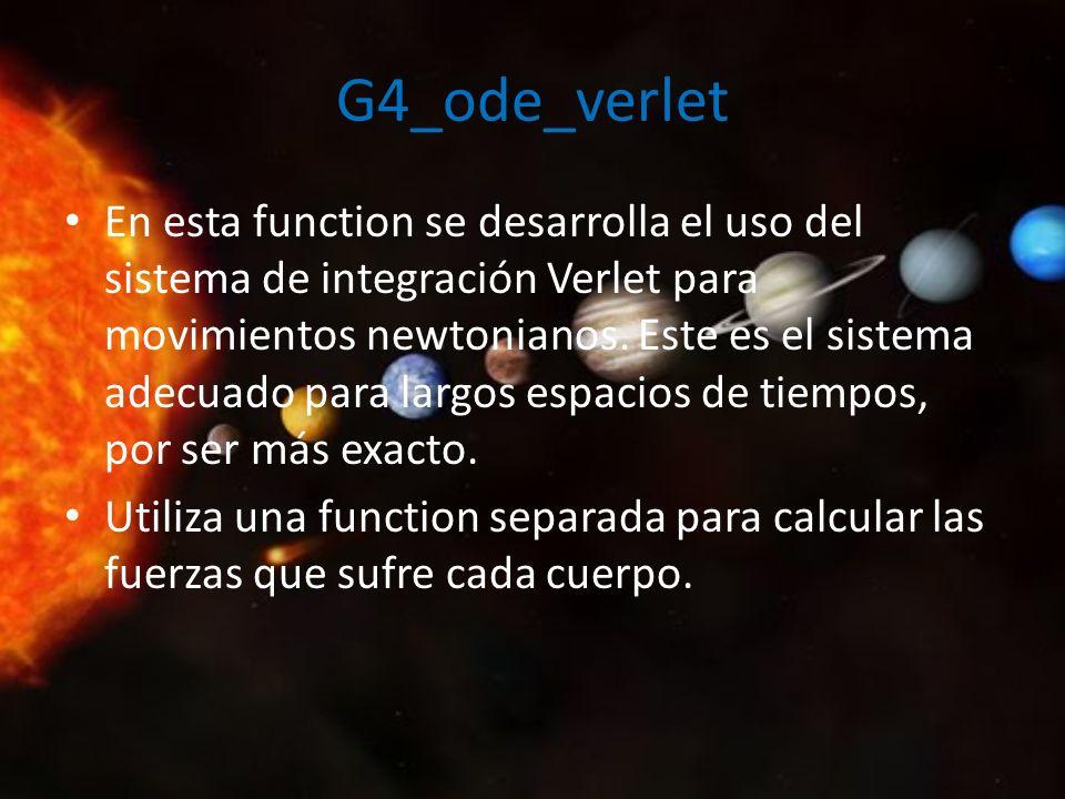 G4_fuerzagravit En esta última function, calculamos las fuerzas gravitatorias que sufre cada cuerpo del sistema en un instante concreto para ser usadas en la integración por Verlet.