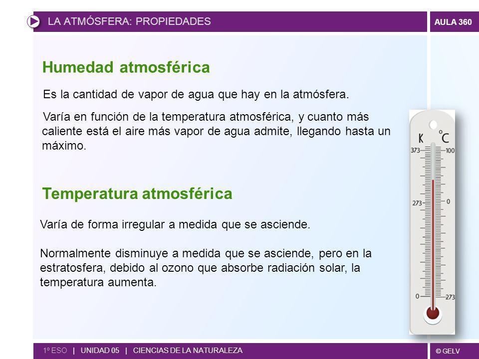 © GELV AULA 360 LA ATMÓSFERA: PROPIEDADES 1º ESO | UNIDAD 05 | CIENCIAS DE LA NATURALEZA Es la cantidad de vapor de agua que hay en la atmósfera. Varí