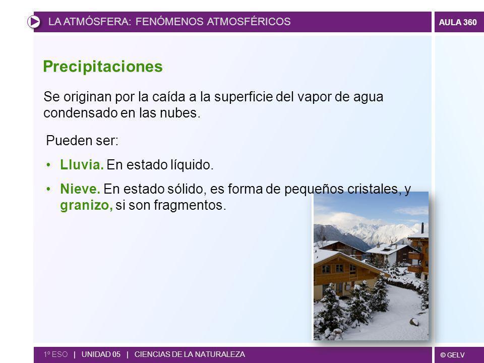 © GELV AULA 360 1º ESO | UNIDAD 05 | CIENCIAS DE LA NATURALEZA Precipitaciones Se originan por la caída a la superficie del vapor de agua condensado e