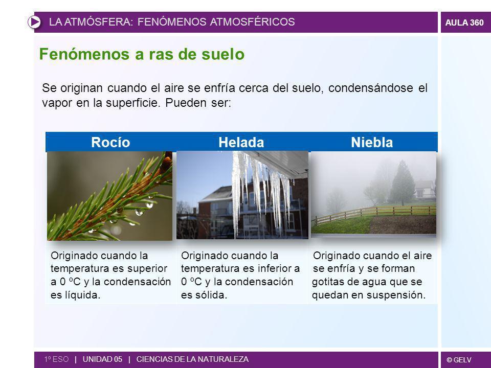 © GELV AULA 360 1º ESO | UNIDAD 05 | CIENCIAS DE LA NATURALEZA Fenómenos a ras de suelo Se originan cuando el aire se enfría cerca del suelo, condensá