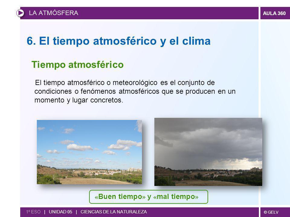 © GELV AULA 360 LA ATMÓSFERA 1º ESO | UNIDAD 05 | CIENCIAS DE LA NATURALEZA 6. El tiempo atmosférico y el clima El tiempo atmosférico o meteorológico