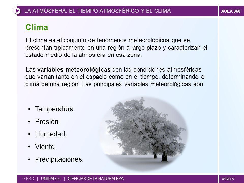 © GELV AULA 360 LA ATMÓSFERA: EL TIEMPO ATMOSFÉRICO Y EL CLIMA 1º ESO | UNIDAD 05 | CIENCIAS DE LA NATURALEZA El clima es el conjunto de fenómenos met