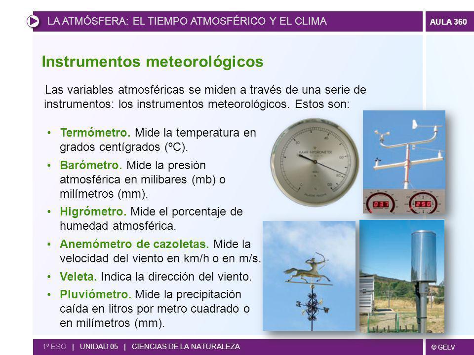 © GELV AULA 360 1º ESO | UNIDAD 05 | CIENCIAS DE LA NATURALEZA Termómetro. Mide la temperatura en grados centígrados (ºC). Barómetro. Mide la presión