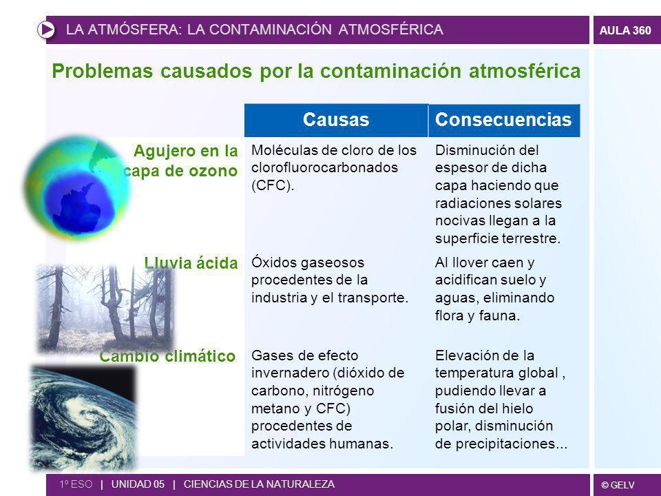 © GELV AULA 360 CausasConsecuencias Agujero en la capa de ozono Moléculas de cloro de los clorofluorocarbonados (CFC). Disminución del espesor de dich
