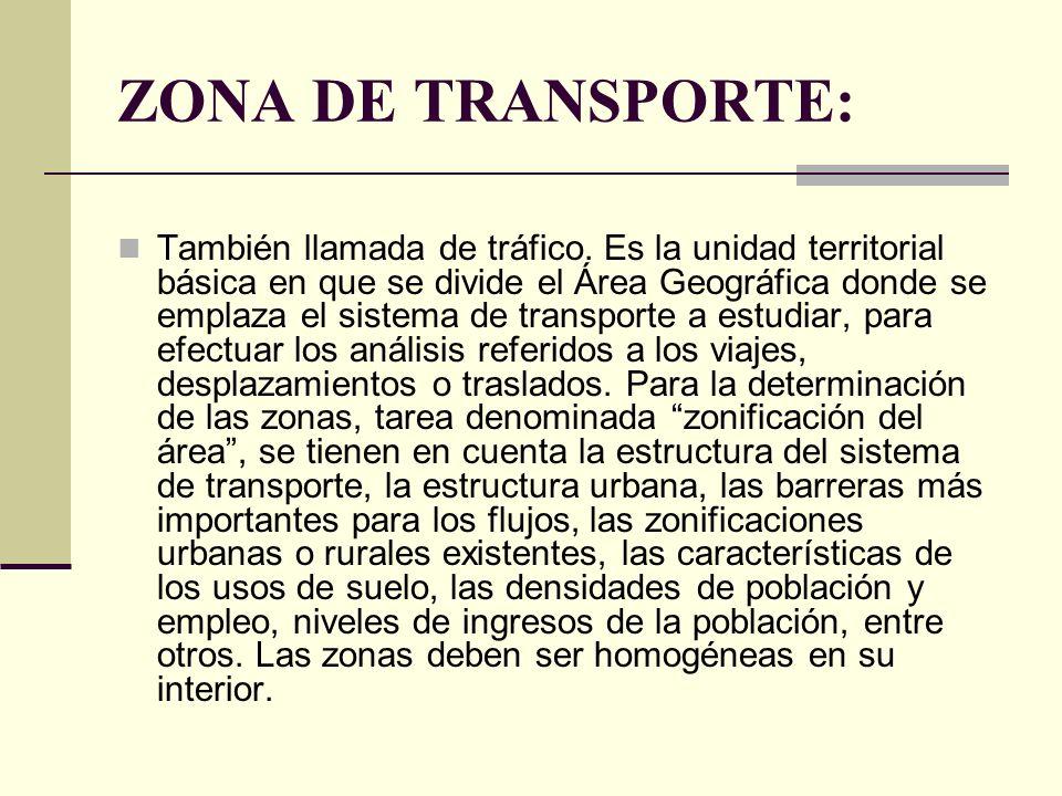 ZONA DE TRANSPORTE: También llamada de tráfico.