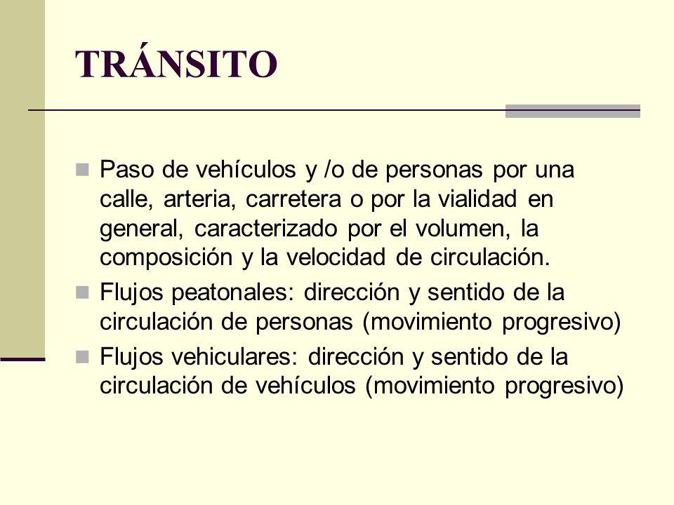 TRÁNSITO Paso de vehículos y /o de personas por una calle, arteria, carretera o por la vialidad en general, caracterizado por el volumen, la composición y la velocidad de circulación.