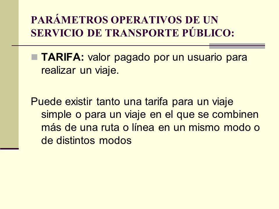PARÁMETROS OPERATIVOS DE UN SERVICIO DE TRANSPORTE PÚBLICO: TARIFA: valor pagado por un usuario para realizar un viaje.