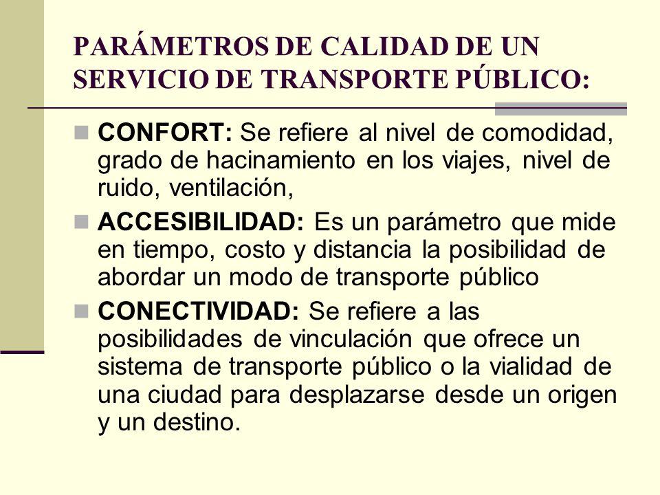 PARÁMETROS DE CALIDAD DE UN SERVICIO DE TRANSPORTE PÚBLICO: CONFORT: Se refiere al nivel de comodidad, grado de hacinamiento en los viajes, nivel de ruido, ventilación, ACCESIBILIDAD: Es un parámetro que mide en tiempo, costo y distancia la posibilidad de abordar un modo de transporte público CONECTIVIDAD: Se refiere a las posibilidades de vinculación que ofrece un sistema de transporte público o la vialidad de una ciudad para desplazarse desde un origen y un destino.
