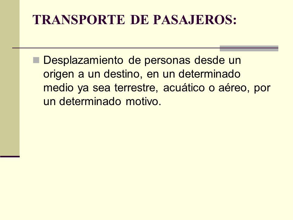 TRANSPORTE DE PASAJEROS: Desplazamiento de personas desde un origen a un destino, en un determinado medio ya sea terrestre, acuático o aéreo, por un determinado motivo.