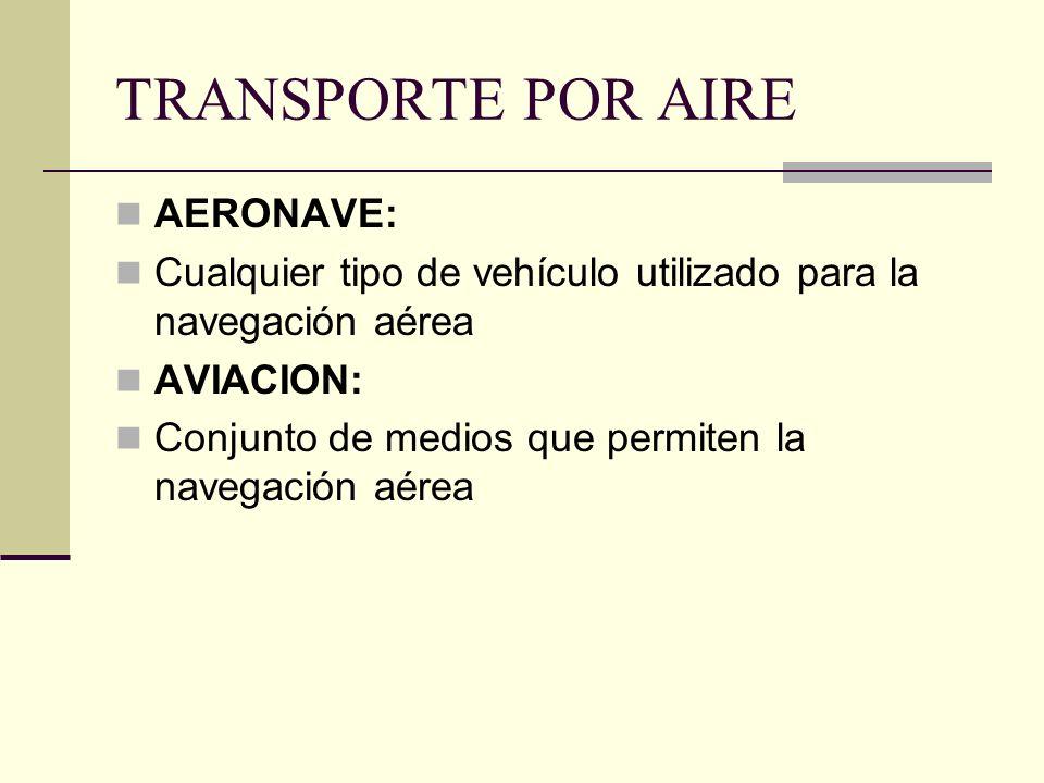 TRANSPORTE POR AIRE AERONAVE: Cualquier tipo de vehículo utilizado para la navegación aérea AVIACION: Conjunto de medios que permiten la navegación aérea