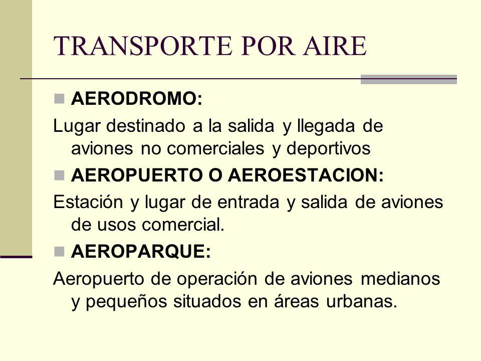 TRANSPORTE POR AIRE AERODROMO: Lugar destinado a la salida y llegada de aviones no comerciales y deportivos AEROPUERTO O AEROESTACION: Estación y lugar de entrada y salida de aviones de usos comercial.