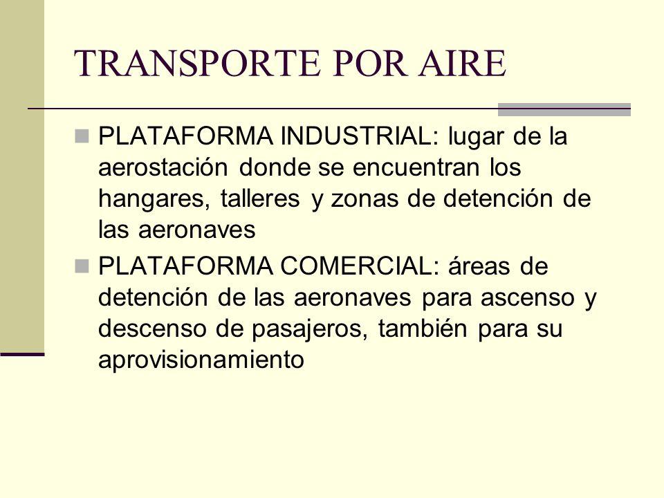 TRANSPORTE POR AIRE PLATAFORMA INDUSTRIAL: lugar de la aerostación donde se encuentran los hangares, talleres y zonas de detención de las aeronaves PLATAFORMA COMERCIAL: áreas de detención de las aeronaves para ascenso y descenso de pasajeros, también para su aprovisionamiento