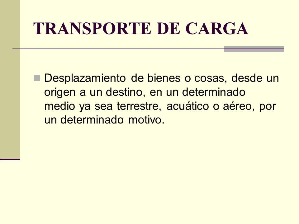 TRANSPORTE DE CARGA Desplazamiento de bienes o cosas, desde un origen a un destino, en un determinado medio ya sea terrestre, acuático o aéreo, por un determinado motivo.