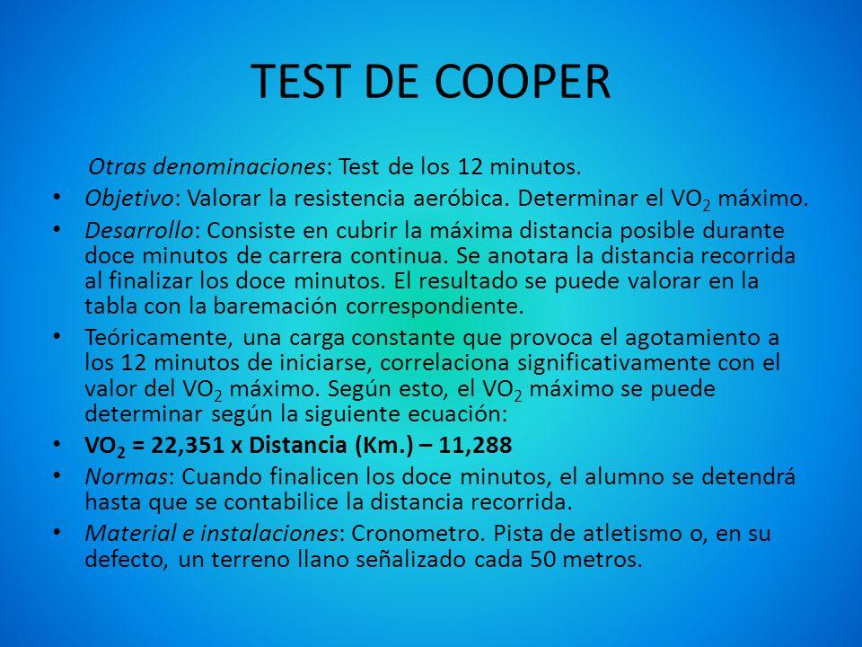 TEST DE COOPER Otras denominaciones: Test de los 12 minutos. Objetivo: Valorar la resistencia aeróbica. Determinar el VO 2 máximo. Desarrollo: Consist