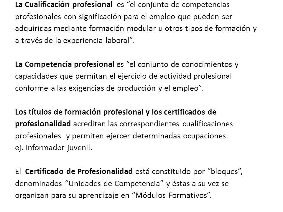 La Cualificación profesional es el conjunto de competencias profesionales con significación para el empleo que pueden ser adquiridas mediante formación modular u otros tipos de formación y a través de la experiencia laboral.