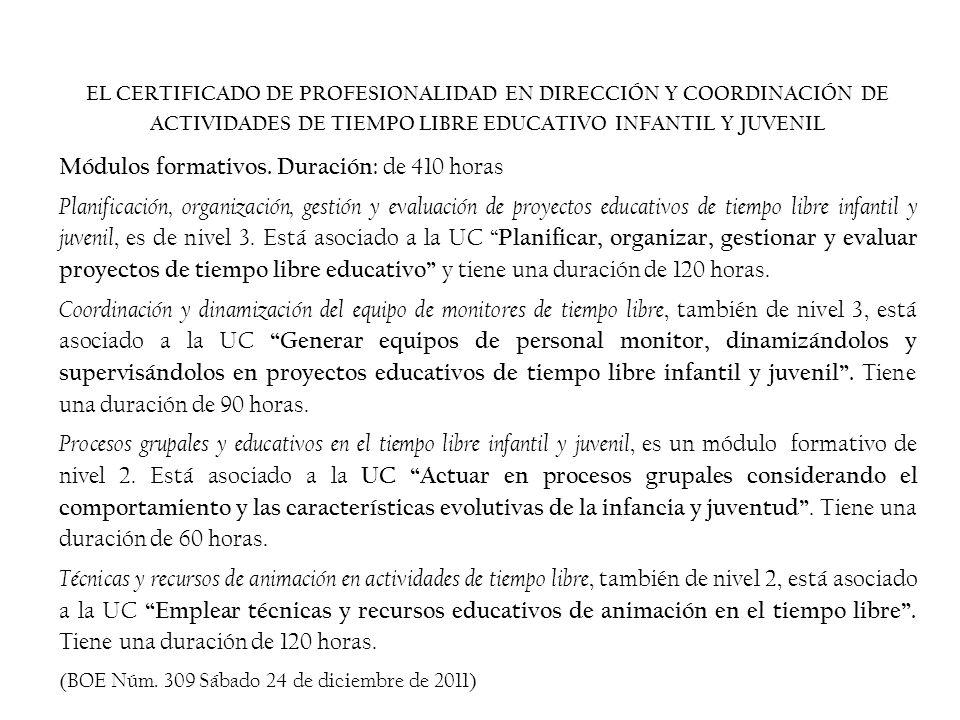 EL CERTIFICADO DE PROFESIONALIDAD EN DIRECCIÓN Y COORDINACIÓN DE ACTIVIDADES DE TIEMPO LIBRE EDUCATIVO INFANTIL Y JUVENIL Módulos formativos.