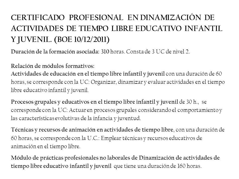 CERTIFICADO PROFESIONAL EN DINAMIZACIÓN DE ACTIVIDADES DE TIEMPO LIBRE EDUCATIVO INFANTIL Y JUVENIL.