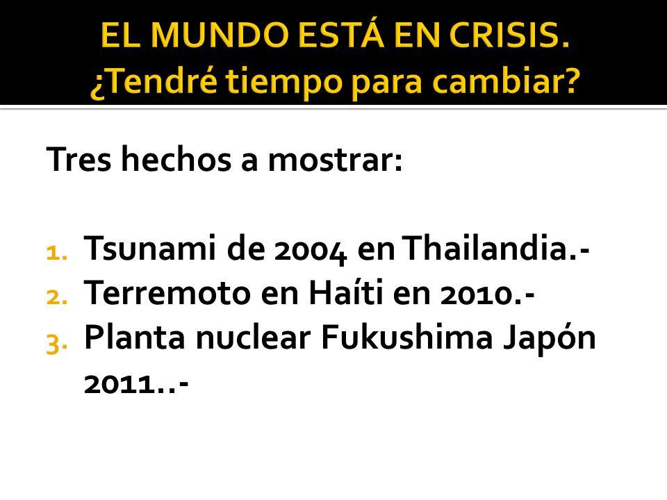 Tres hechos a mostrar: 1. Tsunami de 2004 en Thailandia.- 2. Terremoto en Haíti en 2010.- 3. Planta nuclear Fukushima Japón 2011..-