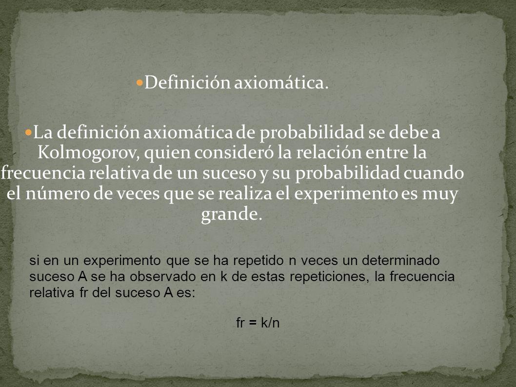 Definición axiomática. La definición axiomática de probabilidad se debe a Kolmogorov, quien consideró la relación entre la frecuencia relativa de un s