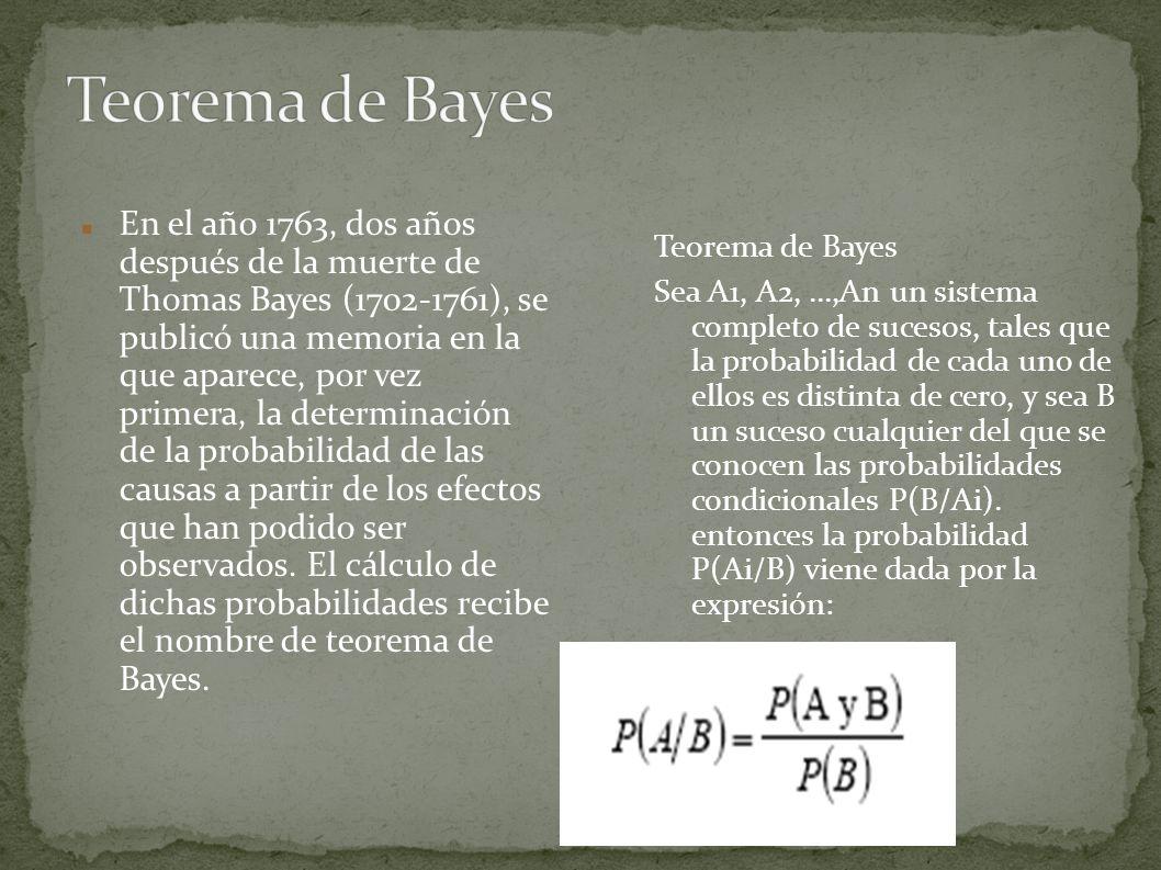 En el año 1763, dos años después de la muerte de Thomas Bayes (1702-1761), se publicó una memoria en la que aparece, por vez primera, la determinación