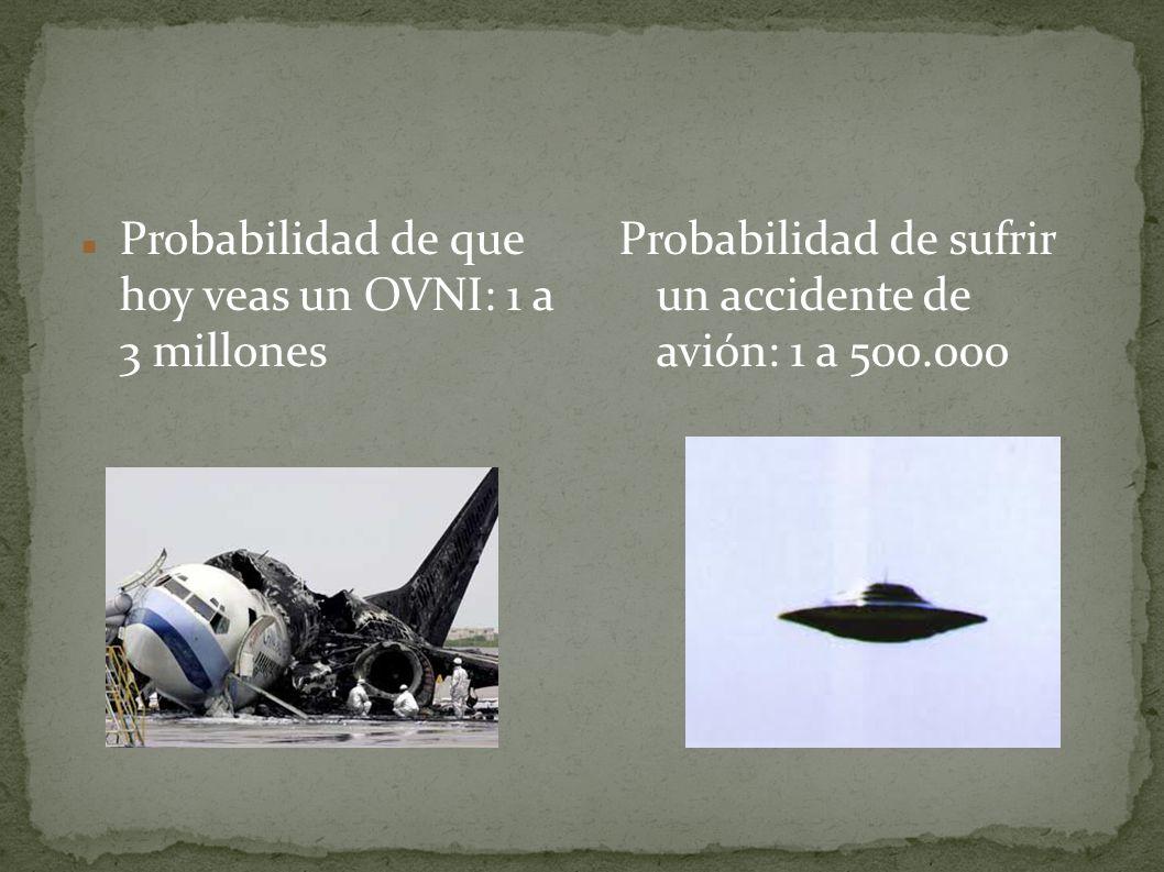 Probabilidad de que hoy veas un OVNI: 1 a 3 millones Probabilidad de sufrir un accidente de avión: 1 a 500.000
