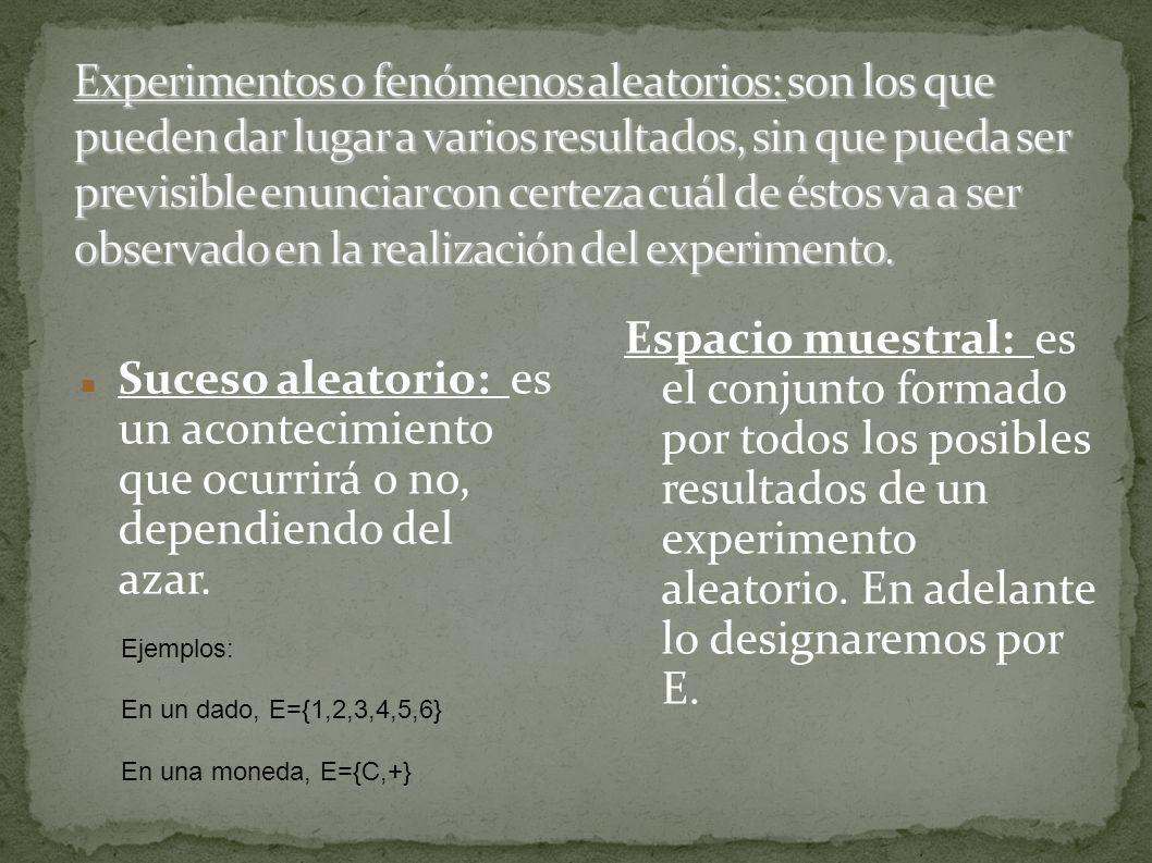 Describe el espacio muestral asociado a cada uno de los siguientes experimentos aleatorios: 1.