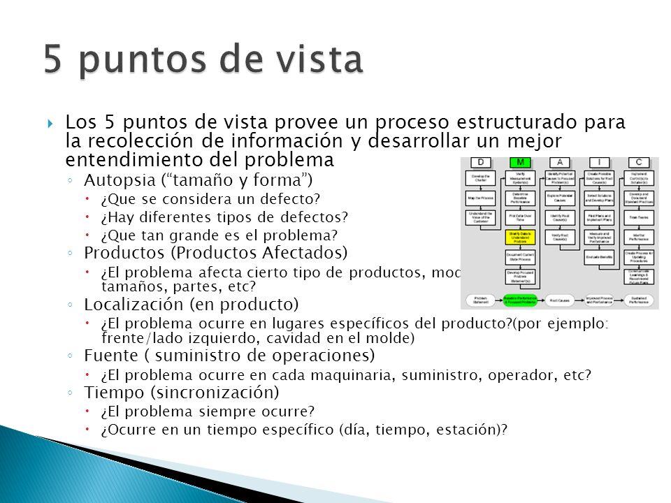 Los 5 puntos de vista provee un proceso estructurado para la recolección de información y desarrollar un mejor entendimiento del problema Autopsia (ta