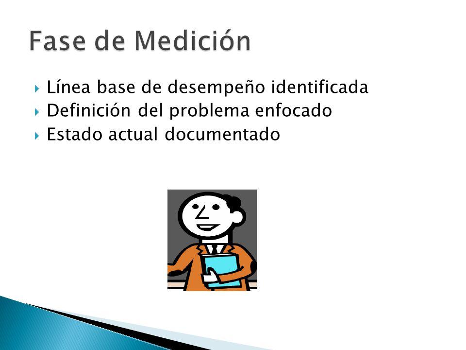 Línea base de desempeño identificada Definición del problema enfocado Estado actual documentado