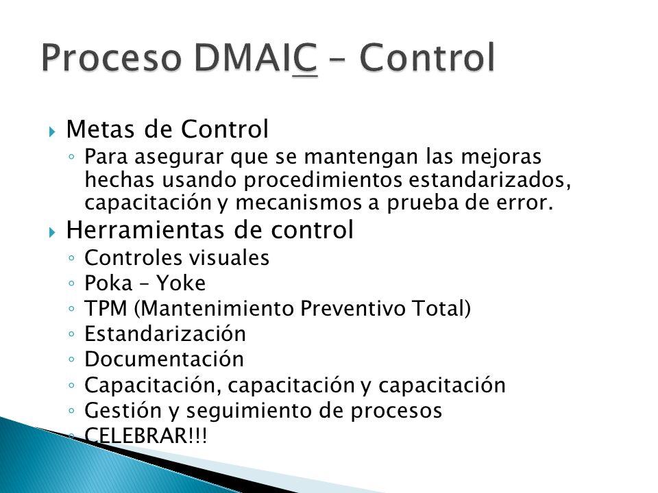 Metas de Control Para asegurar que se mantengan las mejoras hechas usando procedimientos estandarizados, capacitación y mecanismos a prueba de error.