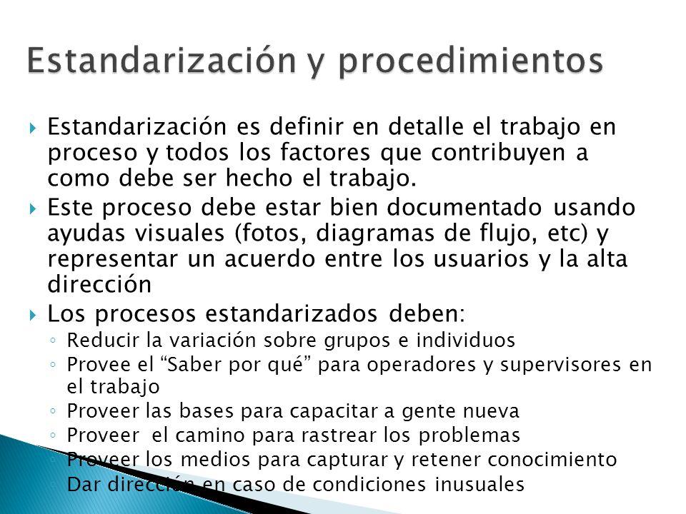 Estandarización es definir en detalle el trabajo en proceso y todos los factores que contribuyen a como debe ser hecho el trabajo. Este proceso debe e