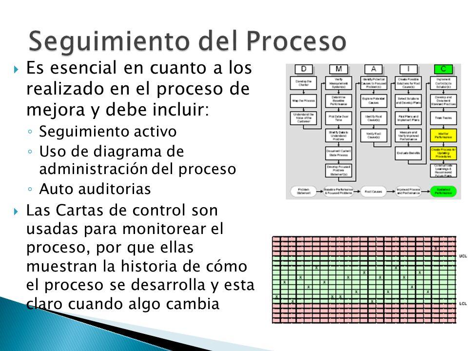 Es esencial en cuanto a los realizado en el proceso de mejora y debe incluir: Seguimiento activo Uso de diagrama de administración del proceso Auto au